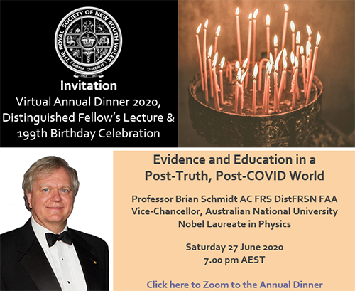 Annual Dinner 2020, Distinguished Fellow's Lecture and 199th Birthday Celebration